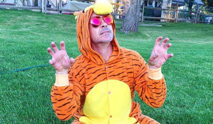 Роберт Дауни-мл. надел костюм тигра ради маленького поклонника