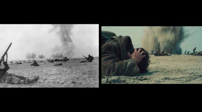 Кадры «Дюнкерка» сравнили с архивными съёмками. Видео